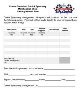 Merchandise Shop Sale Agreement Form